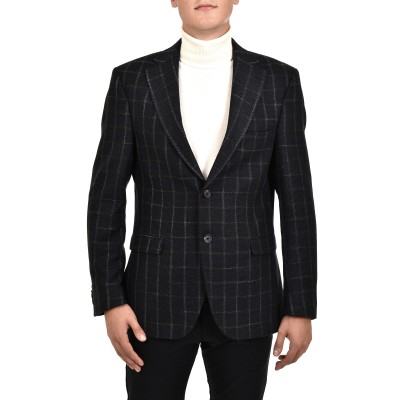 Bizzaro Blazer Checked-Blue