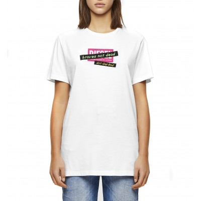 Diesel T-Shirt T-Daria R2 Embroidery Tape Regular Fit-White