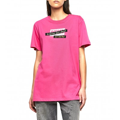 Diesel T-Shirt T-Daria R2 Embroidery Tape Regular Fit-Pink