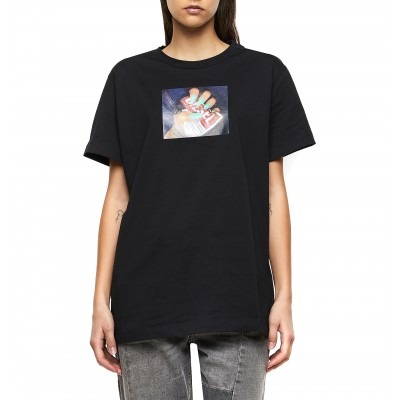 Diesel T-Shirt T-Daria R3 With Photo Transfer Print Regular-Black