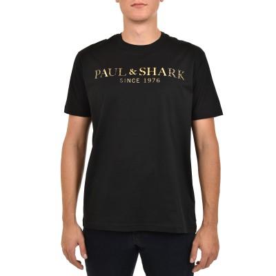 Paul & Shark T-Shirt Organic Cotton With Printed Heritage Paul&Shark-Black