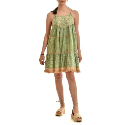 Nekane Dress Short With Mirror Embroidery-Mint
