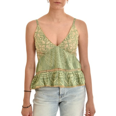 Nekane Top With Embroidered Mirrors-Mint