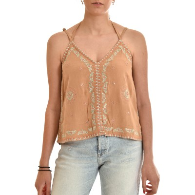 Nekane Top With Ethnic Embroidery & Ribbon-Sand