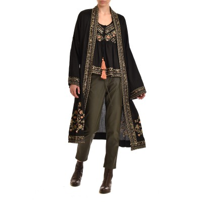 Nekane Kimono Tandil Long Embroidered With Studs-Black