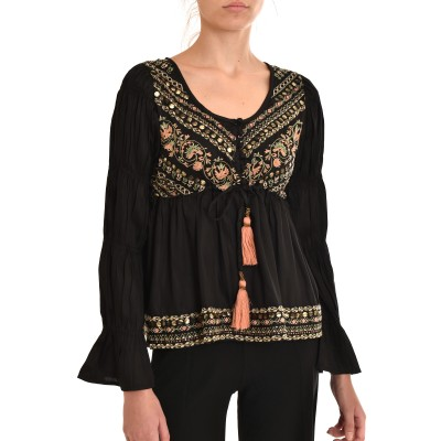 Nekane Blouse Testel Embroidered With Studs-Black