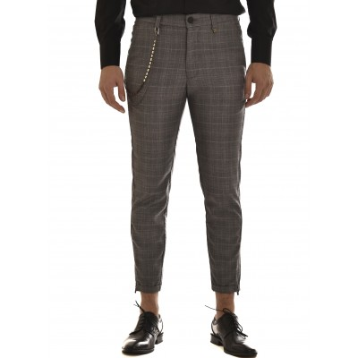 Vittorio Pants Alto Checked Removable Chain-Dark Grey