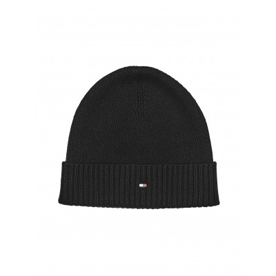 Tommy Hilfiger Beanie Pima Cotton Blend Flag Embroidry-Black