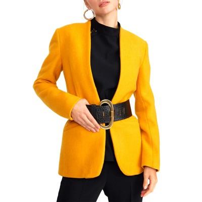Setre Blazer With Lining & Full-Length Belt-Mustard