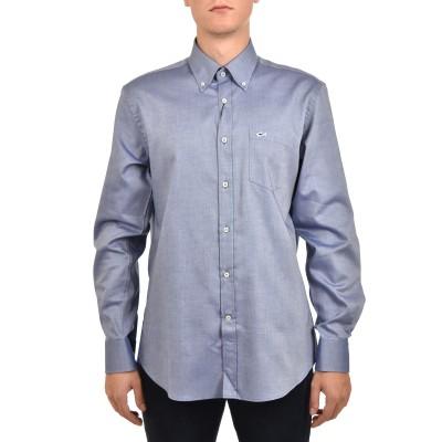 Paul & Shark Shirt Cotton Poplin Micro-patterned-White/Blue