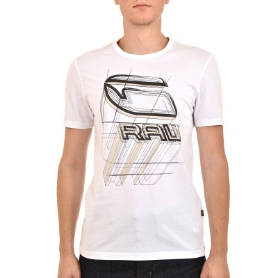 G-Star Raw T-Shirt Prespective Logo Gr Slim R-White