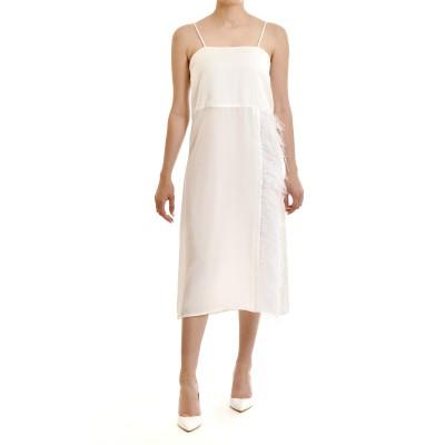 Milkwhite Dress Midi With Feather Detail-White