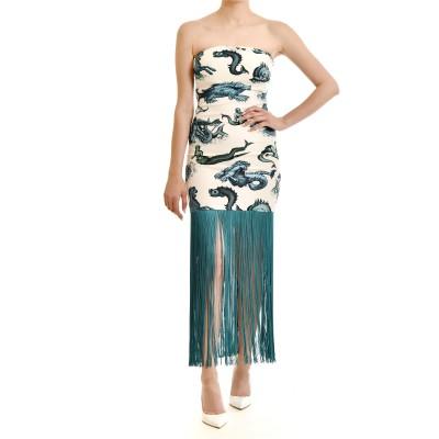 Milkwhite Dress Midi With Fringe Detail Patterned-White/Blue