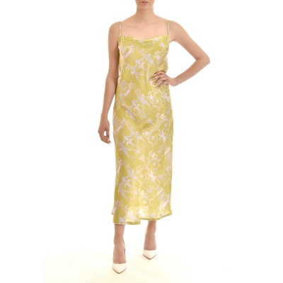 Milkwhite Dress Printed Glossy Slip With Open Back-Lime