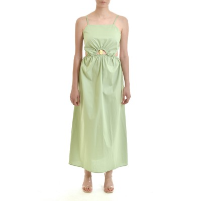 Milkwhite Dress With Cut Out Cameo Detail-Mint