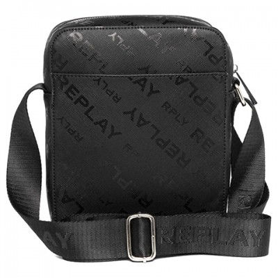Replay Crossbody Bag With Saffiano Effect-Black