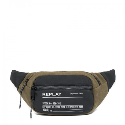 Replay Waist Bag Two-Tone Fabric-Jungle DK Green Black
