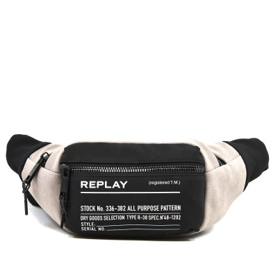 Replay Waist Bag Two-Tone Fabric-Jungle Grey Black