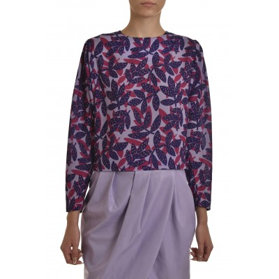 We_Are Blouse Batwing Sleeves Leaves-Lilac