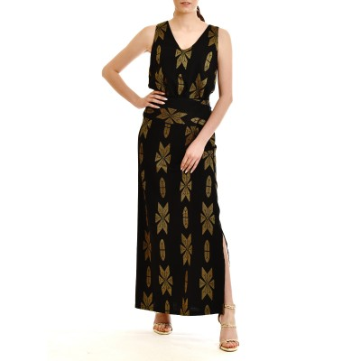 Lotus Eaters Skirt With Embroidery Pattern-Black/Gold