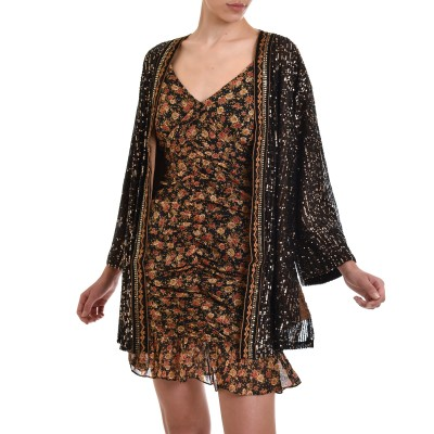 Nekane Kimono Bagnaia Embroidered With Sequins-Black