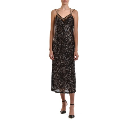 Nekane Dress Bianca Maxi Embroidered With Sequins-Black