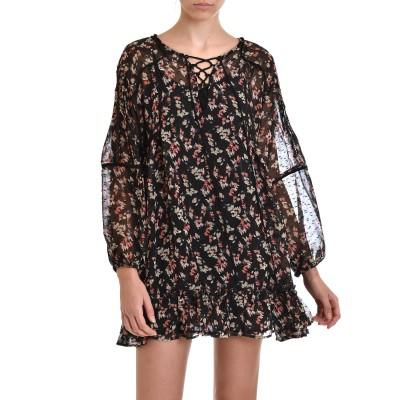 Nekane Dress Selinda Lace-Up Details & Neckline-Black