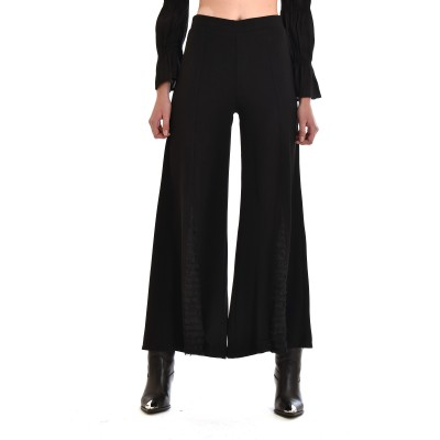 Nekane Pants Castel Wide Legs Front Cut-Black