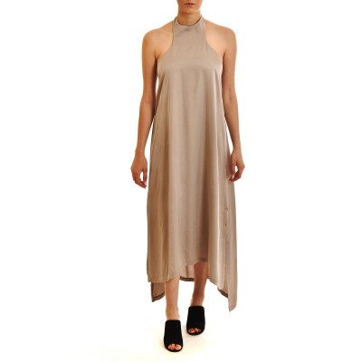 Lotus Eaters Dress Maxi Satin Irma With Open Back-Silver
