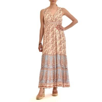 Nekane Dress Long With Floral Print-Sky