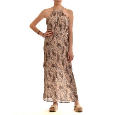 Nekane Dress Long Pleated & Patterned-Ivory
