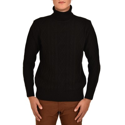 Vittorio Sweater Cable Turtleneck-Black