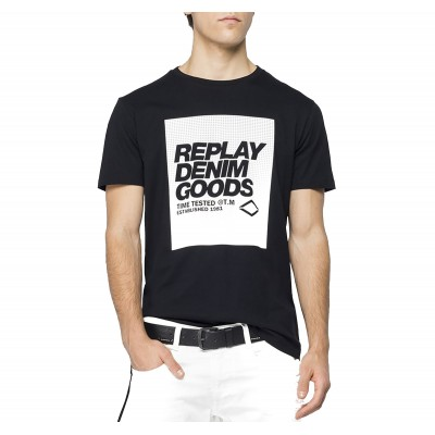Replay T-Shirt Crewneck With Print-Black