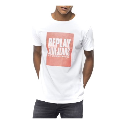 Replay T-Shirt Blue Jeans Not Ordinary People Crewneck-White