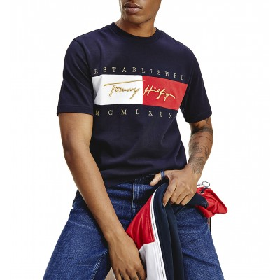 Tommy Hilfiger T-Shirt With Signature Logo Embroidery-Desert Sky