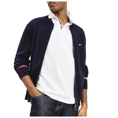 Tommy Hilfiger Knitted Jacket Global Stripe Bazeball Zip Thru-Desert Sky