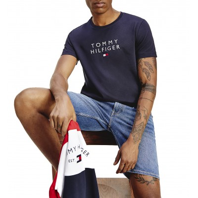 Tommy Hilfiger T-Shirt With Chest Embroidery Logo-Desert Sky