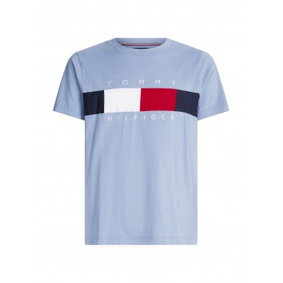 Tommy Hilfiger T-Shirt With Textured Flag-Colorado Indigo