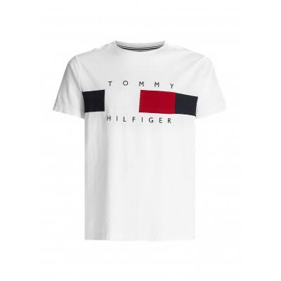 Tommy Hilfiger T-Shirt With Textured Flag-White