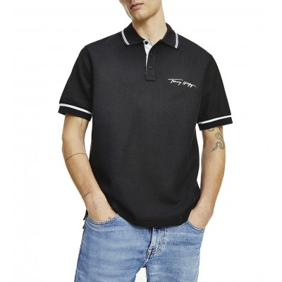 Tommy Hilfiger Polo With Tipped Signature Logo-Black