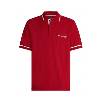 Tommy Hilfiger Polo With Tipped Signature Logo-Primary Red