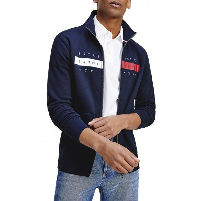 Tommy Hilfiger Sweatshirt With Zip & Chest Signature Logo-Desert Sky
