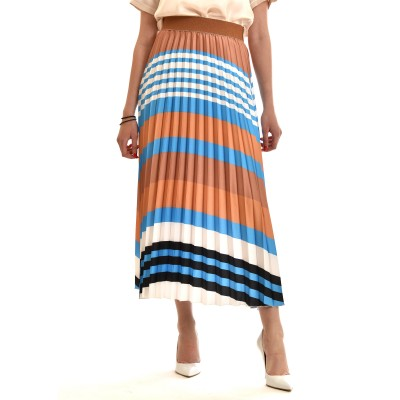 Motel Skirt Midi Striped With Pleats-Colorful