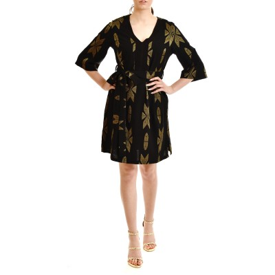 Lotus Eaters Dress Midi With Belt & Embroidery Pattern-Black/Gold