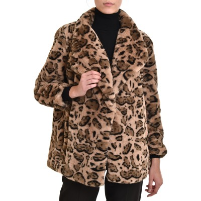 Nekane Fur Jacket Naira Double Breasted Leopard-Sand