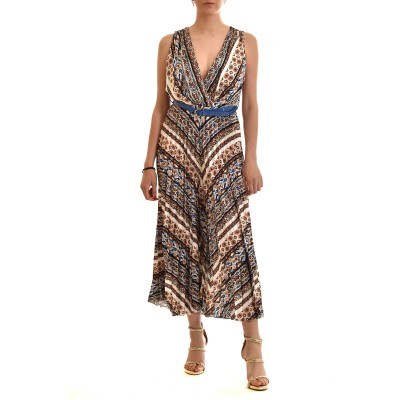 Motel Jumpsuit Patterned With Pleats & Belt-Colorful