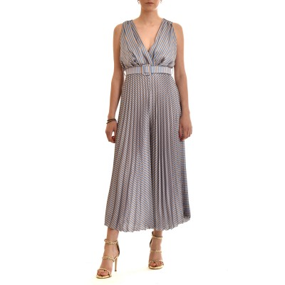 Motel Jumpsuit Striped With Pleats & Belt-Light Blue/Gold