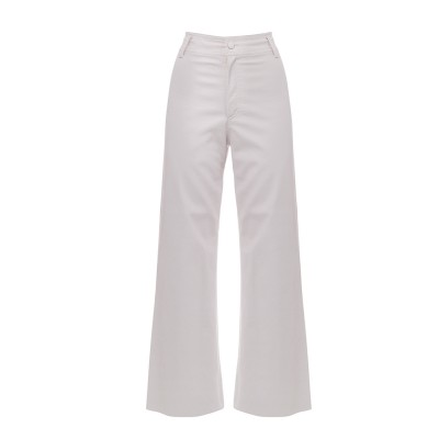 Milkwhite Trousers Vegan Leather Wide Legs-Off White