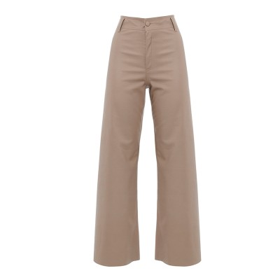 Milkwhite Trousers Vegan Leather Wide Legs-Puro