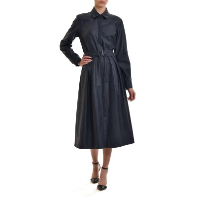 Pontoni Dress Midi Belted Faux Leather-Blue